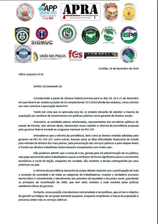 Manifesto das Entidades Representantes dos Servidores Públicos do Paraná: