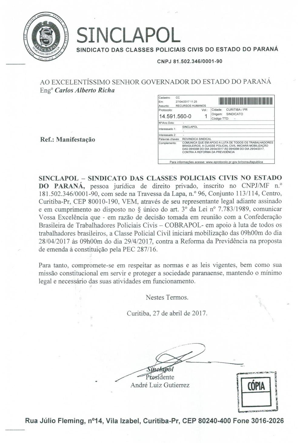 Sinclapol comunica autoridades sobre manifestação de 28 de abril