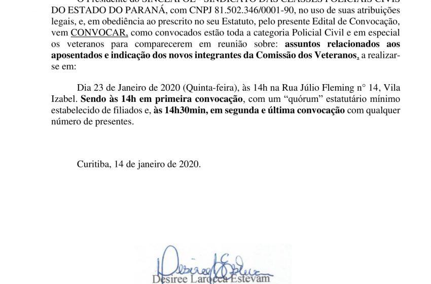 EDITAL DE CONVOCAÇÃO DOS APOSENTADOS