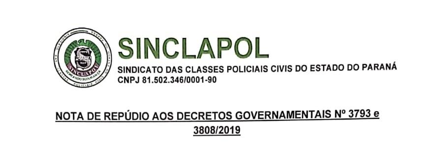NOTA DE REPÚDIO AOS DECRETOS GOVERNAMENTAIS N° 3793 E 3808/2019
